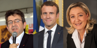 https://en.wikipedia.org/wiki/Political_positions_of_Marine_Le_Pen#/media/File:Le_Pen,_Marine-9586_(cropped).jpg / mélenchon.fr / https://commons.wikimedia.org/wiki/File:Emmanuel_Macron_in_July_2017.jpg