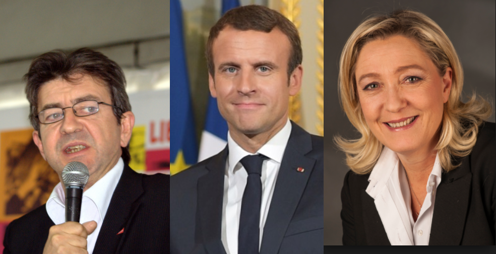 https://en.wikipedia.org/wiki/Political_positions_of_Marine_Le_Pen#/media/File:Le_Pen,_Marine-9586_(cropped).jpg / mélenchon.fr / https://commons.wikimedia.org/wiki/File:Emmanuel_Macron_in_July_2017.jpg