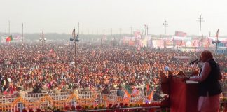 Narendra Modi lors d'une réunion publique à Meerut, 15 février 2014. © Narendra Modi, Flickr