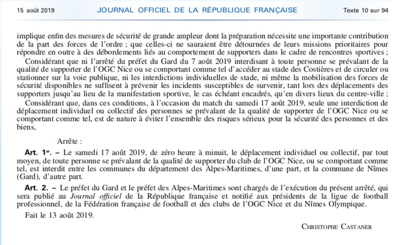 http://www.association-nationale-supporters.fr/wp-content/uploads/2019/08/Arrêté-Nîmes-Nice-Août-2019-Ministériel.pdf