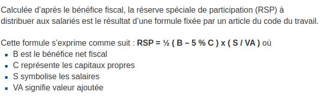 Formule de la réserve spéciale de participation - source : URSSAF