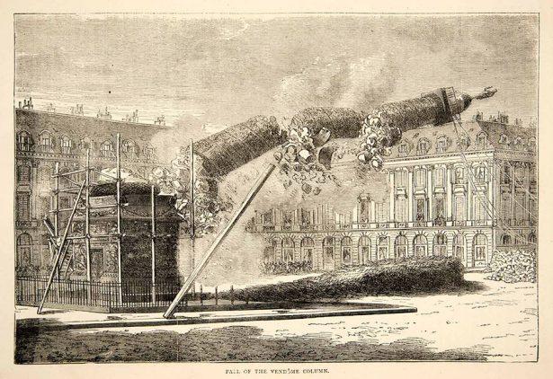 Eau-forte de 1874 représentant la chute de la Colonne Vendôme en 1871, lors de la Commune de Paris