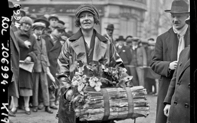 Course des porteurs de journaux, Suzanne Trébis, gagnante de la catégorie dames, 1926